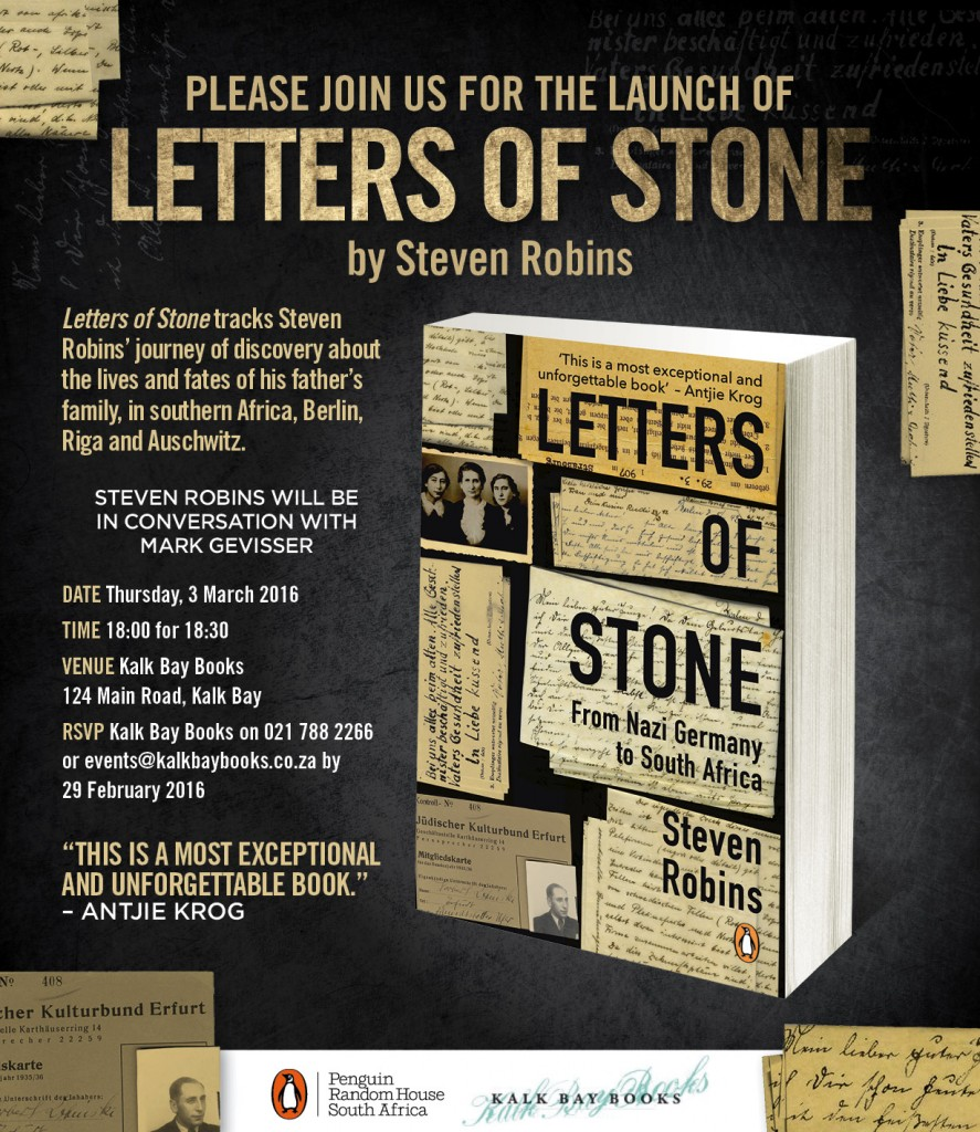 letters of stone invite KALK BAY